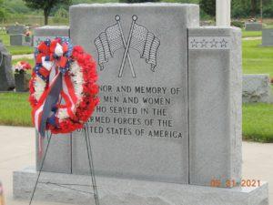 A closeup of the Wills Cemetery Veterans Memorial